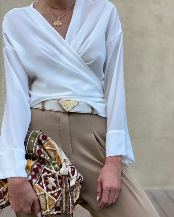 חולצת מעטפת DIDI לבנה