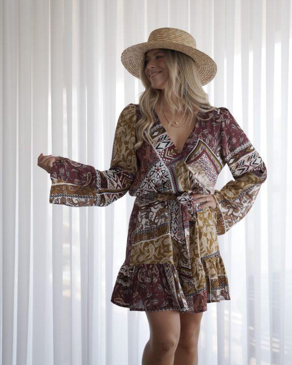 שמלת מעטפת פרינט פייזלי חום SOL