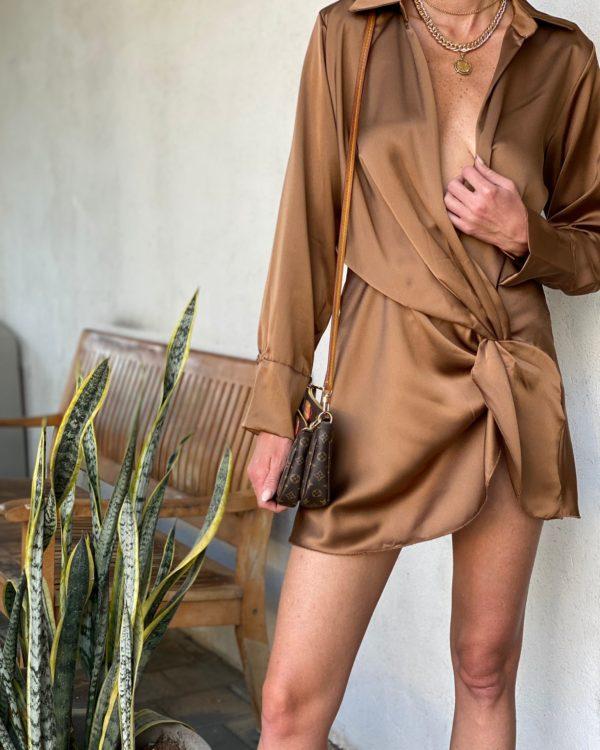 שמלת מעטפת ROYAL חום