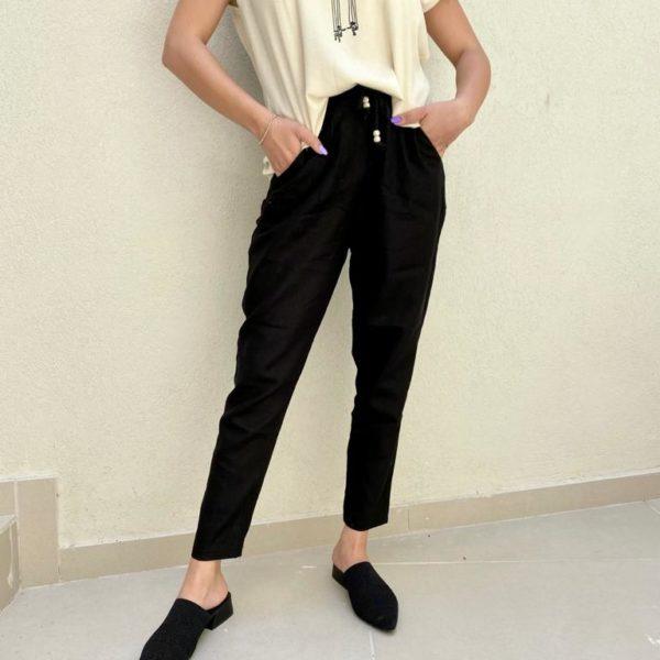 מכנסי פשתן  SHIRAZ שחור