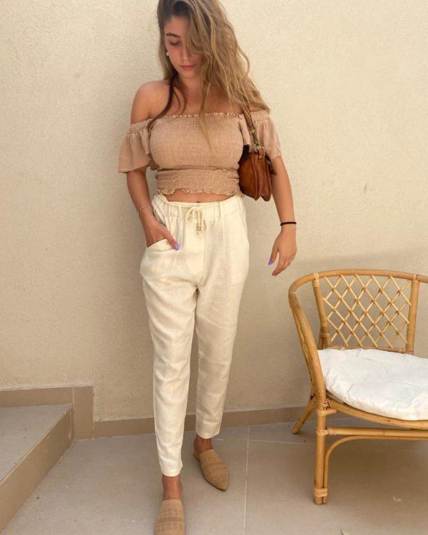 מכנסי פשתן  SHIRAZ שמנת