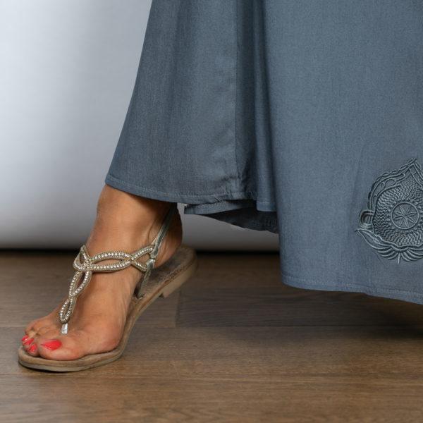 שמלת מקסי כפתורים LIMA כחול גינס