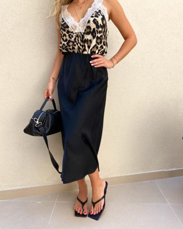 חצאית סאטן KIMI שחור